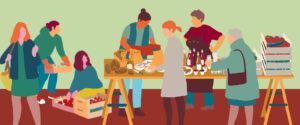Frauen bei einer Marktschwärmer-Verteilung